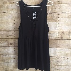 Torrid Black Lace-Up Ribbed Peplum Tank Top NWT